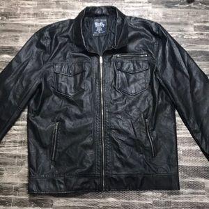 4X leather look jacket coat